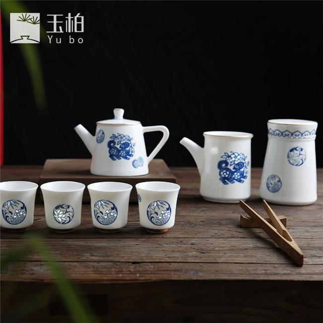 青花旺事如意茶具九件套