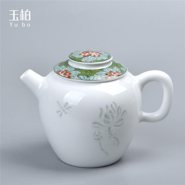 荷叶蜻蜓一壶四杯茶具